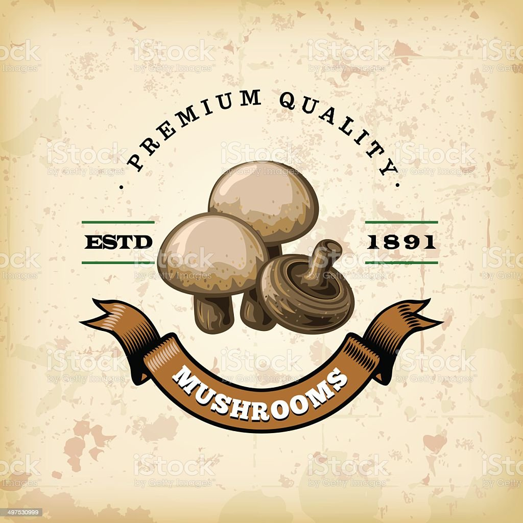 F&B Labels - Mushrooms vector art illustration