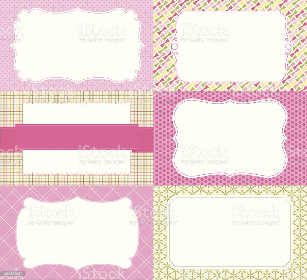 Labels on patterned backgrounds royalty-free stock vector art