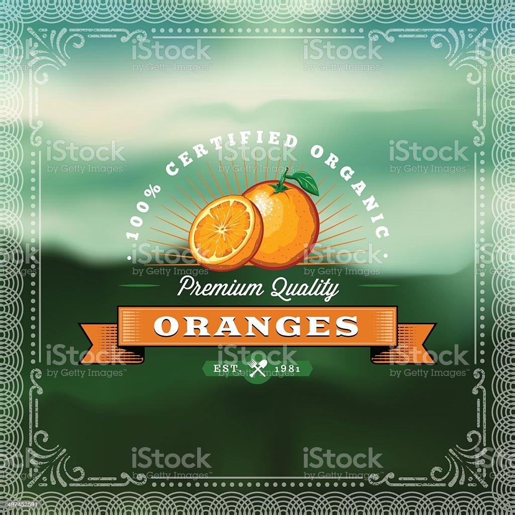 F&B Labels - Oranges vector art illustration