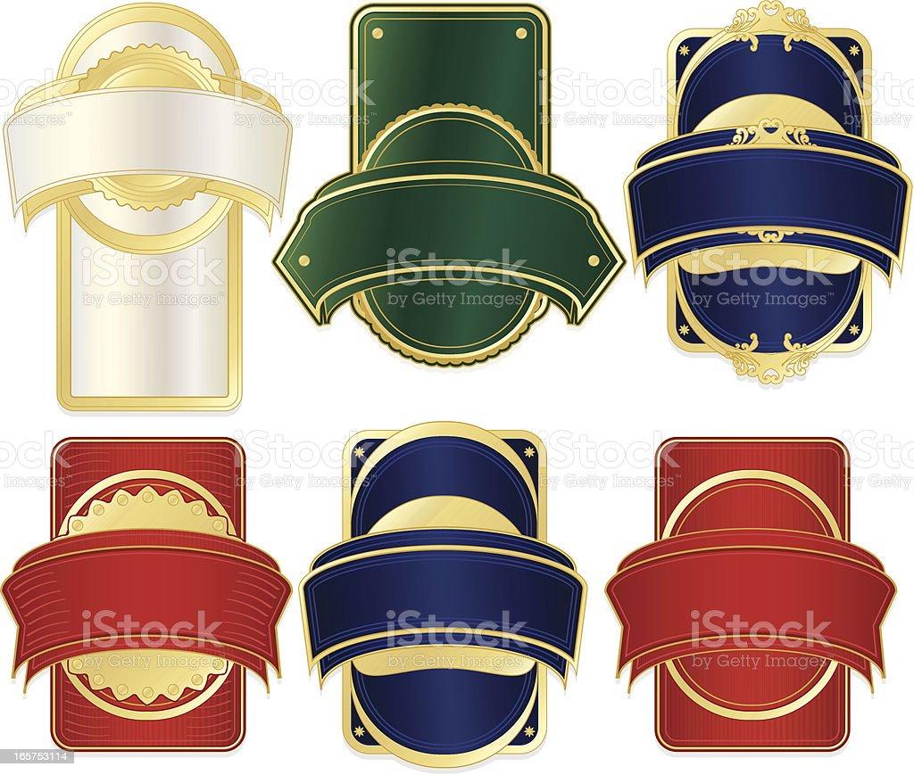 Etiketten, Bänder Design-Set: Rot, Blau, Grün, Pearl, Gold Lizenzfreies vektor illustration