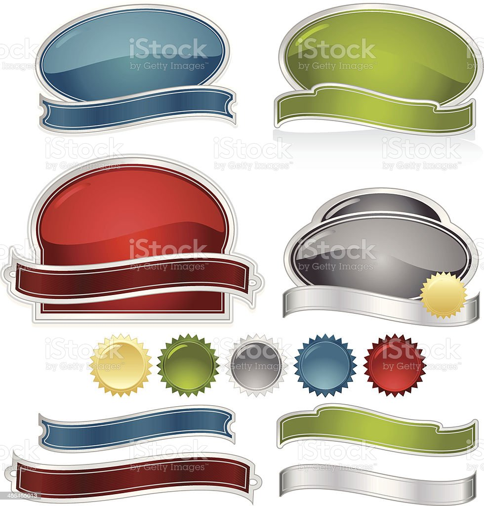 Labels, Ribbons, Stickers Design Set: Blue, Green, Red, Silver, Gold vector art illustration