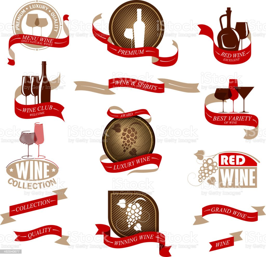 Labels set for wine royalty-free stock vector art