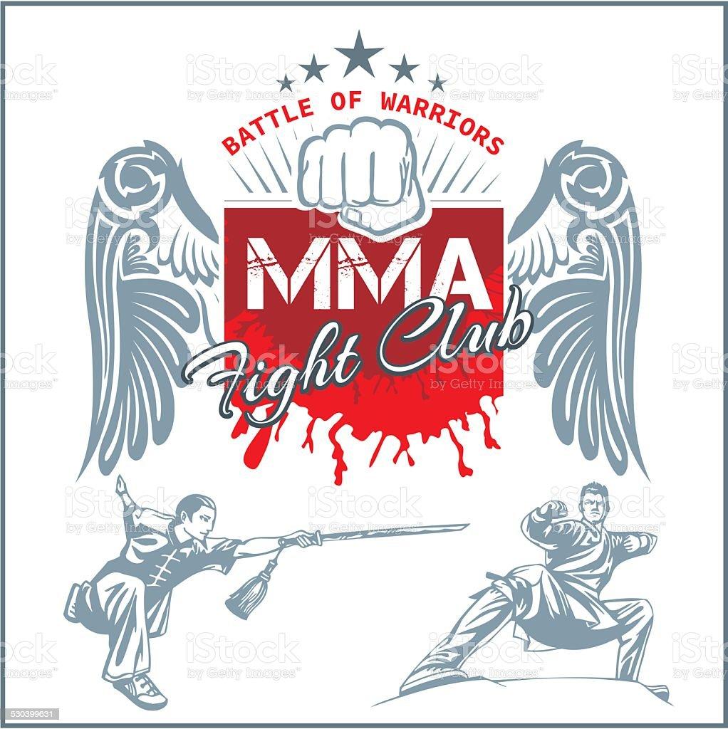 MMA Labels -  Vector Mixed Martial Arts Design. vector art illustration