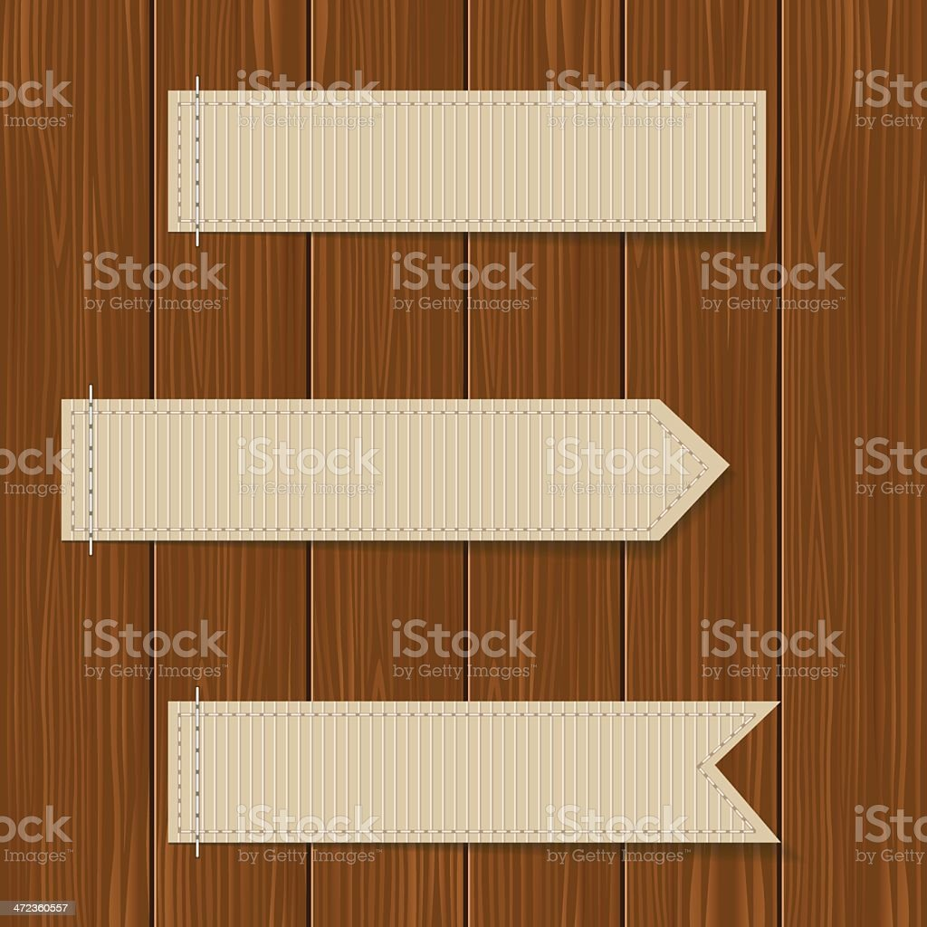 Labels with wooden texture royalty-free stock vector art