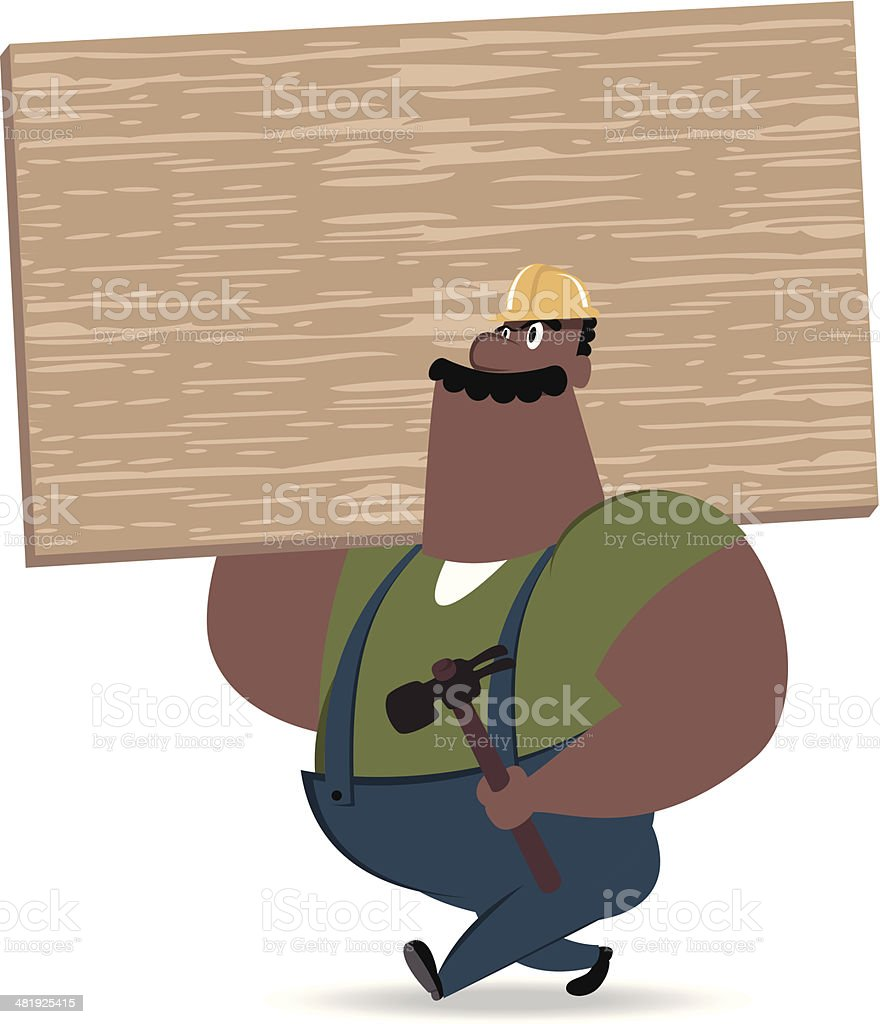 Labor Carrying Hammer and Board royalty-free stock vector art