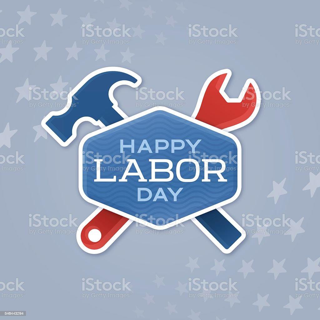 Labor Day Badge vector art illustration
