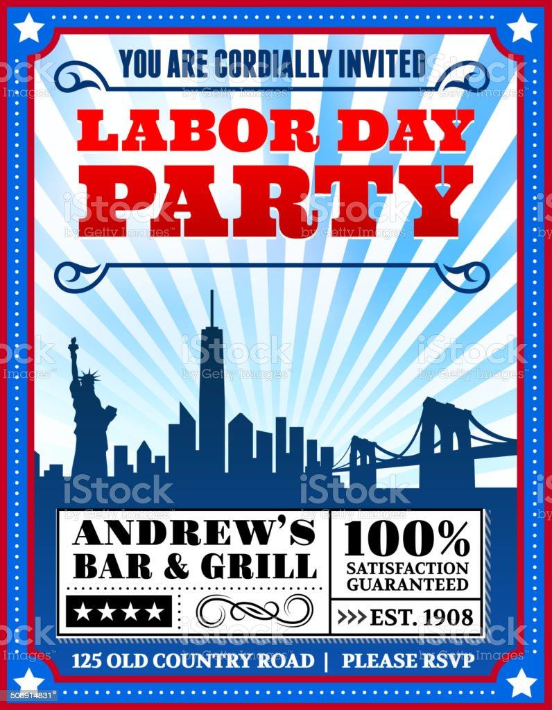 Labor Day BBQ Party on City Background vector art illustration