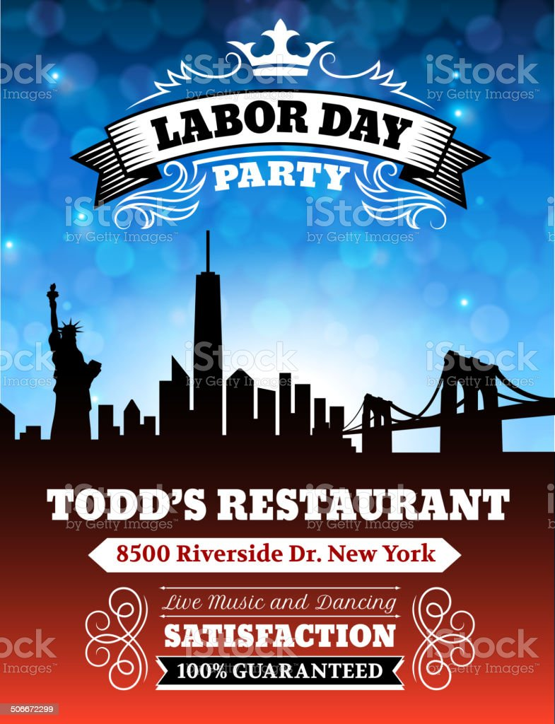 Labor Day Party on City Background vector art illustration