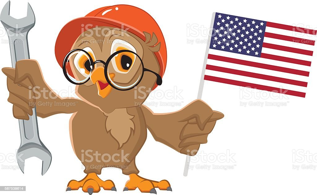 Labor Day USA. Owl holding wrench and American flag vector art illustration