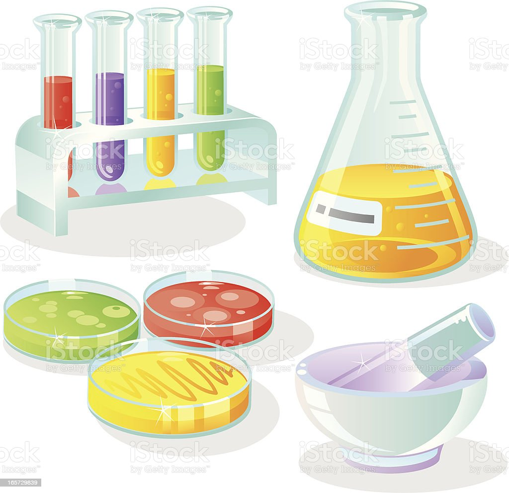 Laboratory Equipment Set vector art illustration