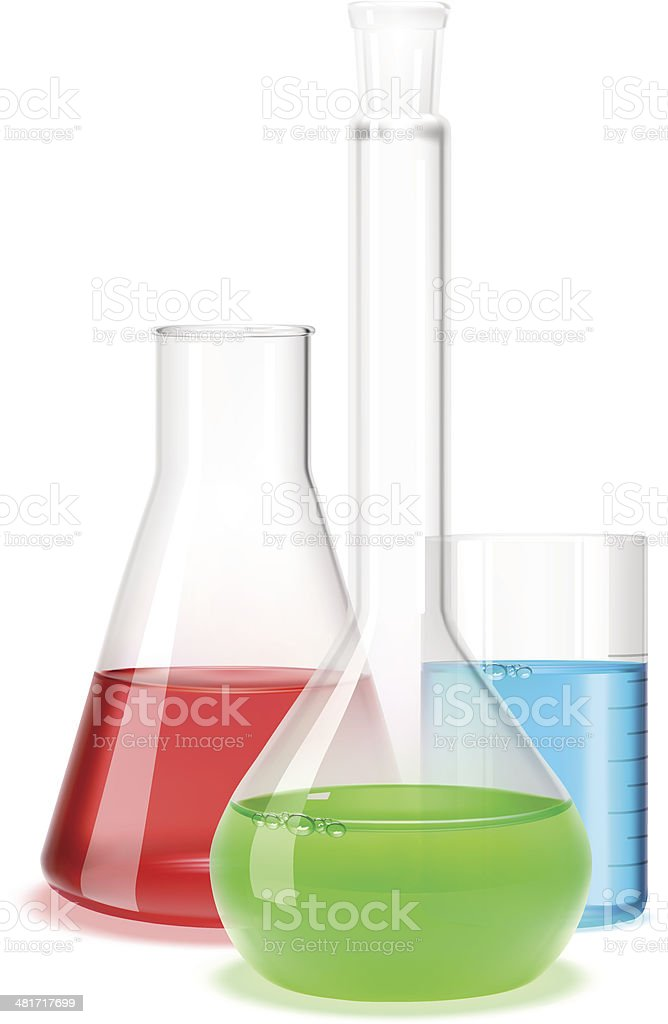 Laboratory flask vector art illustration