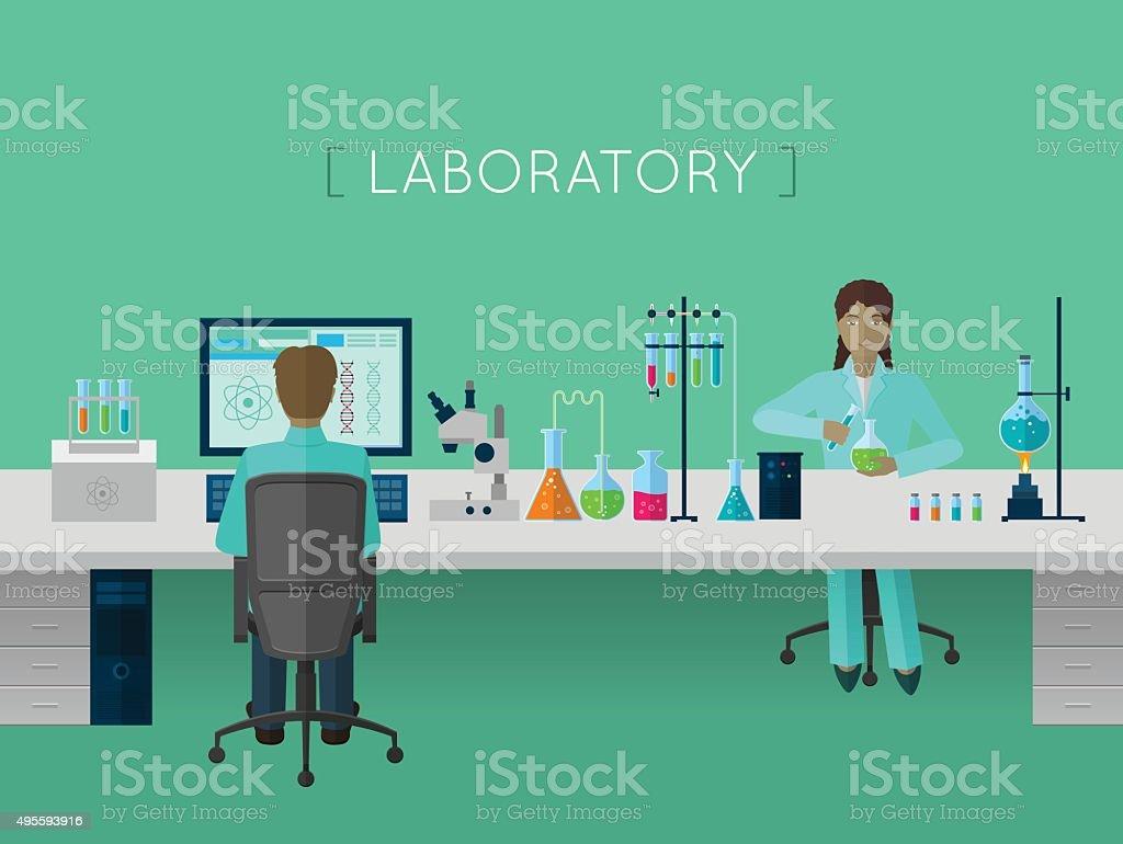 Laboratory flat concept vector art illustration