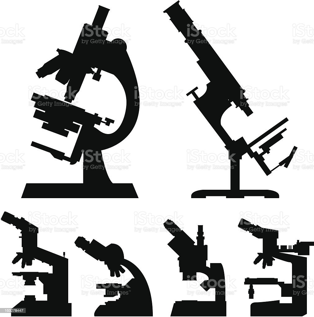 Laboratory microscopes silhouettes vector royalty-free stock vector art