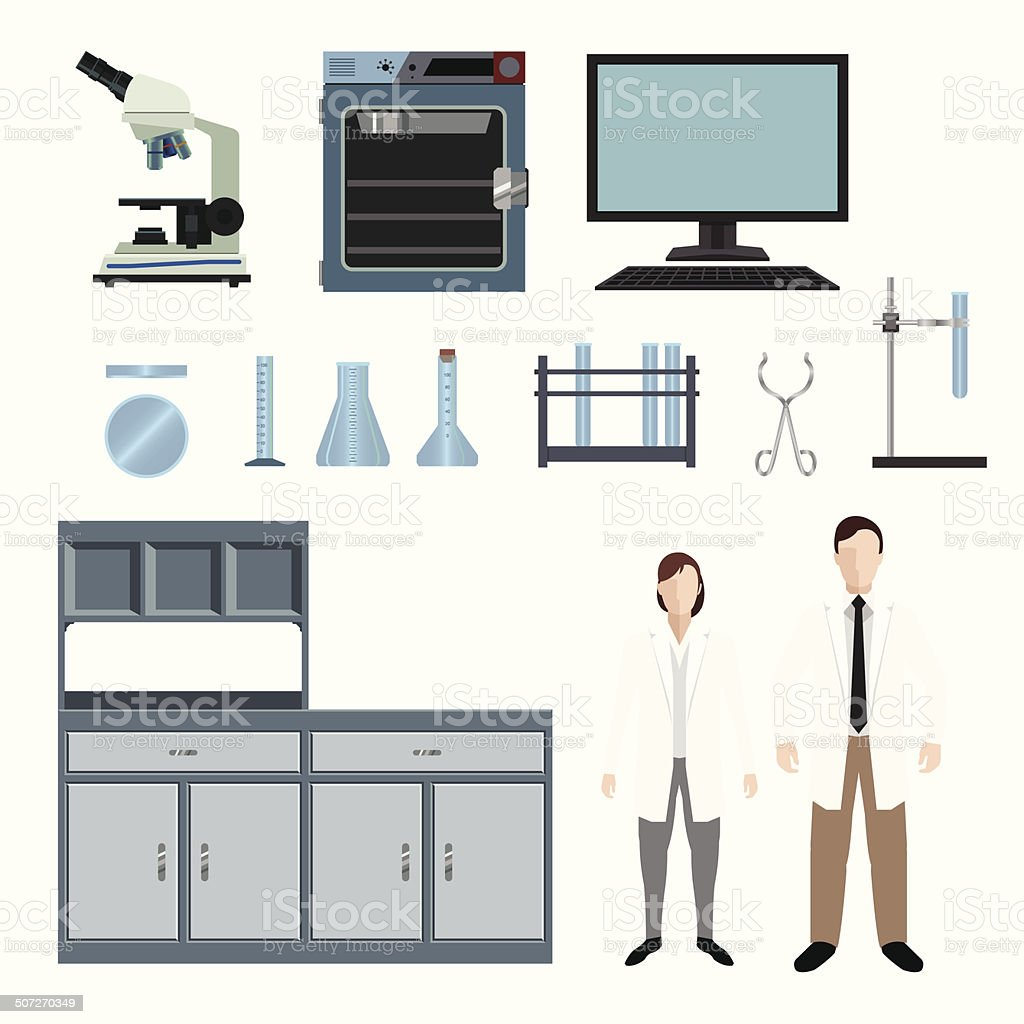 Laboratory People and Equipment Variety Set royalty-free stock vector art