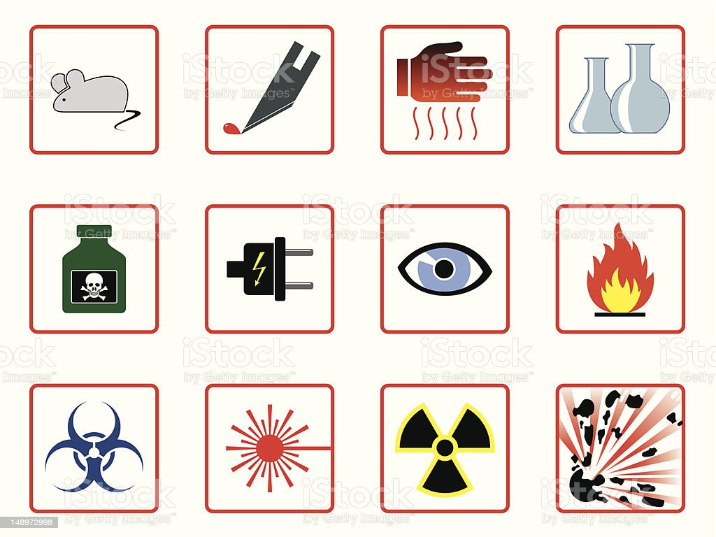 Laboratory Safety Symbols royalty-free stock vector art