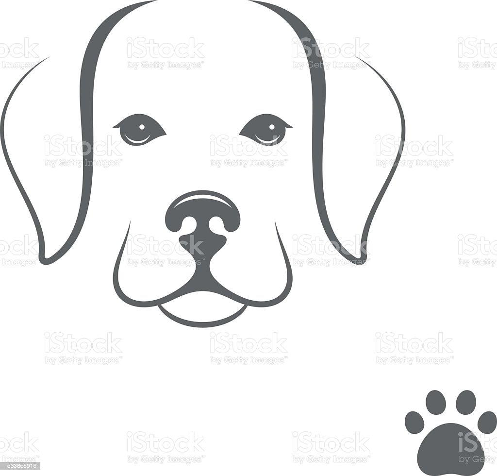 Labrador dog. Little puppy with paw print vector art illustration
