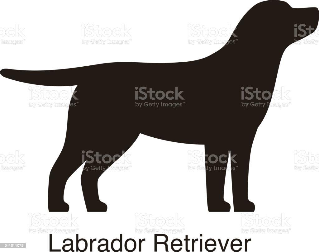 labrador retriever dog silhouette side view vector stock vector