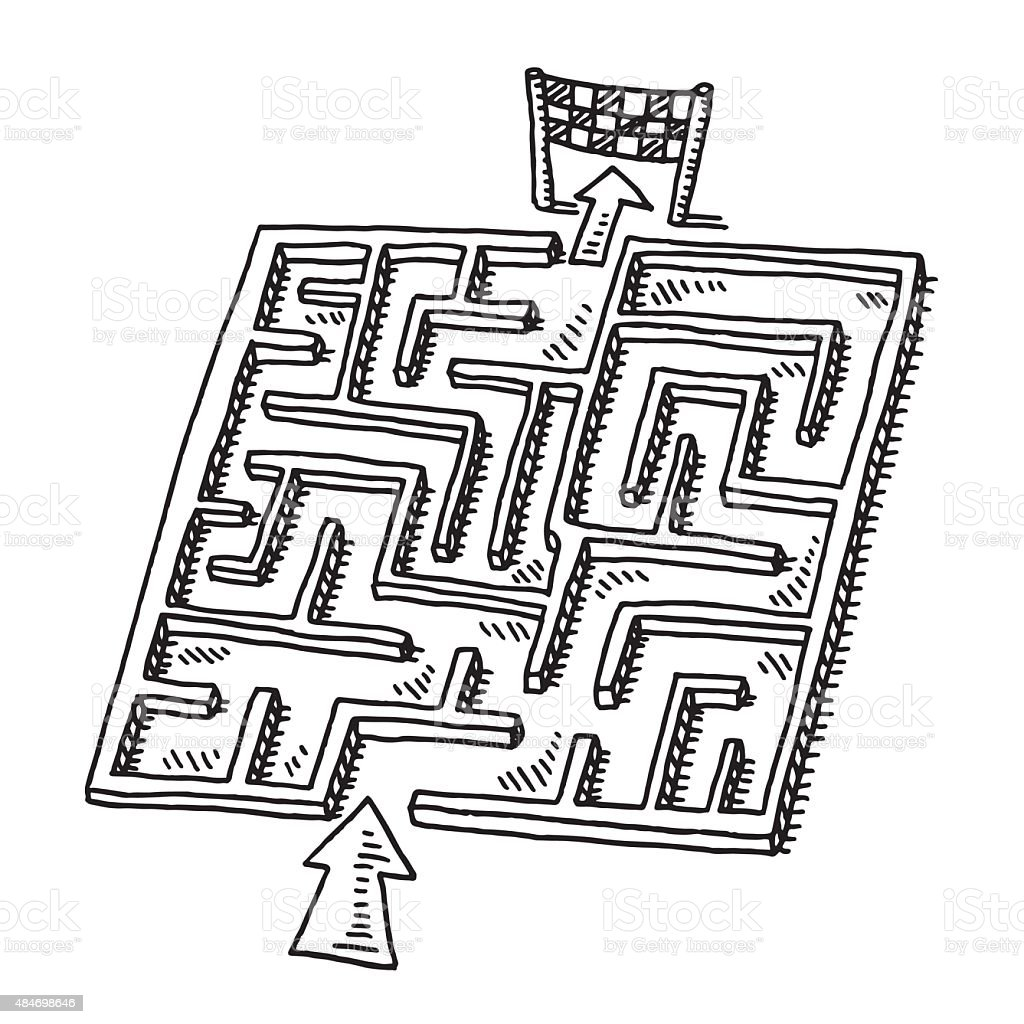 Labyrinth Puzzle Game Drawing vector art illustration