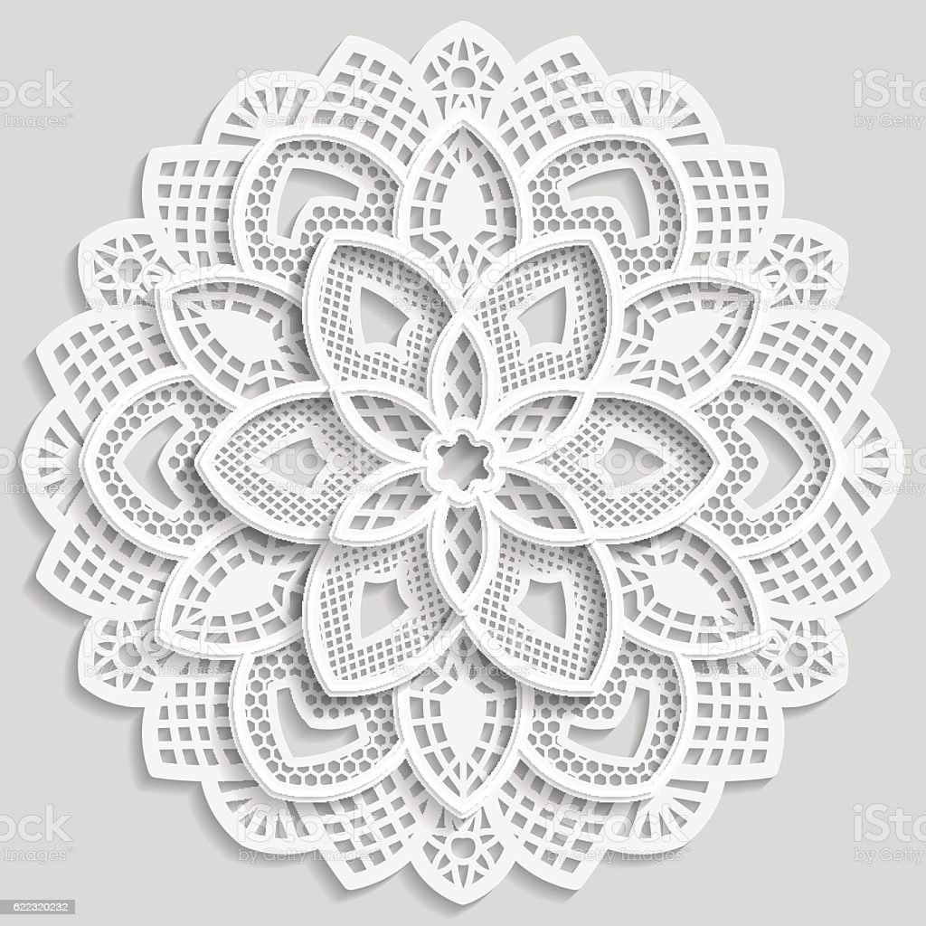 Lace 3D mandala, round symmetrical openwork pattern, vector art illustration