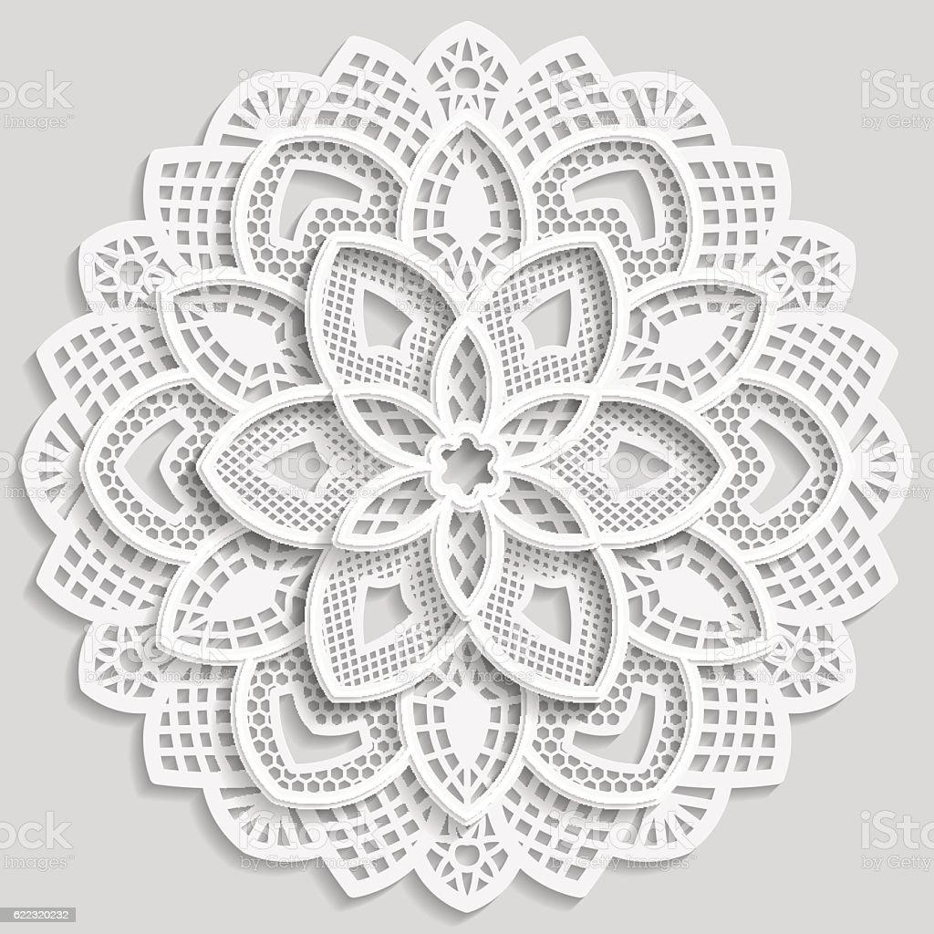 Lace 3D mandala, round symmetrical openwork pattern, vector art illustration