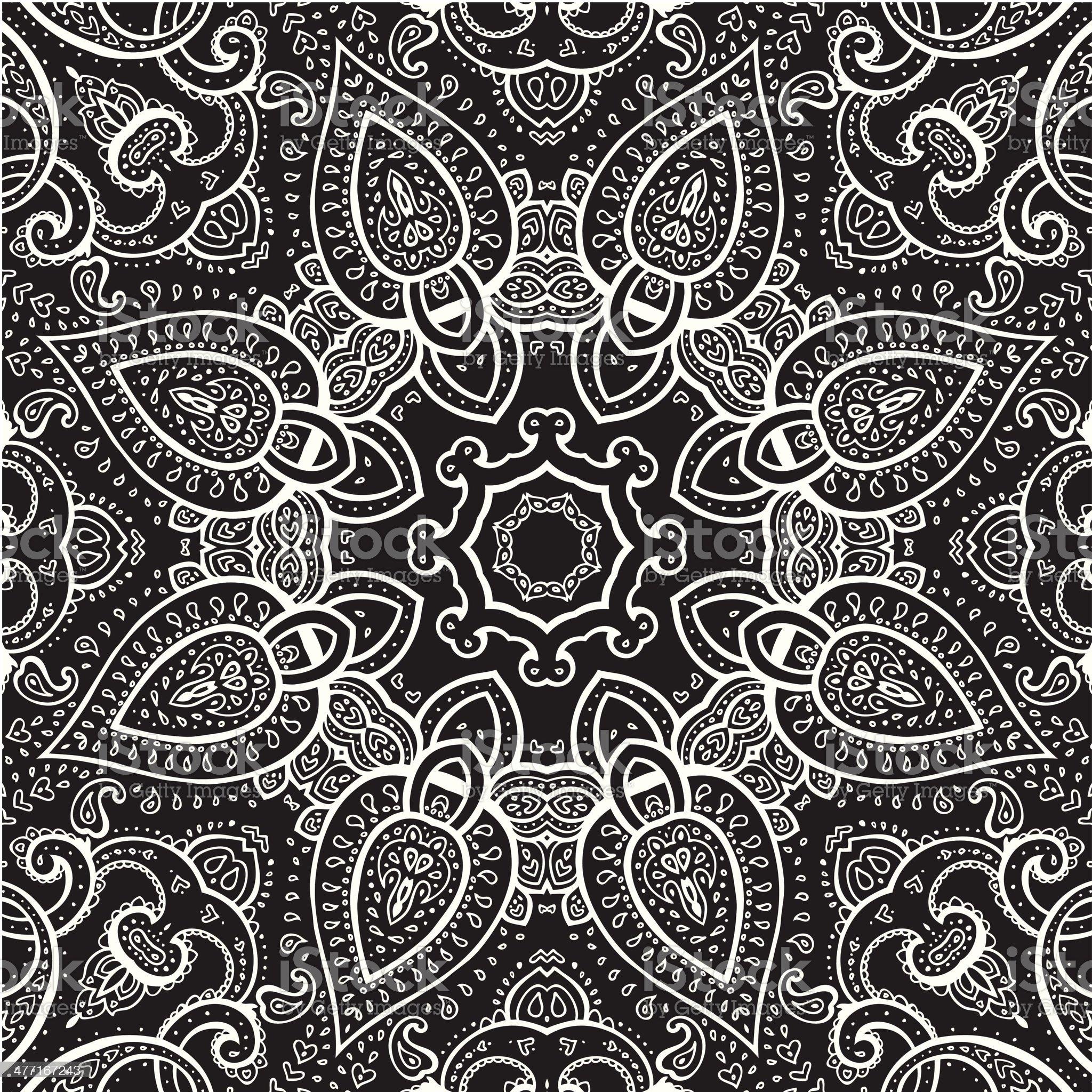 Lace background. White on black. Mandala. royalty-free stock vector art