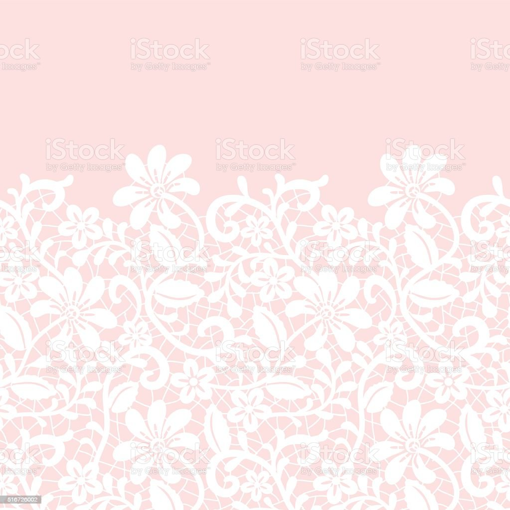 lace border isolated on pink background vector art illustration