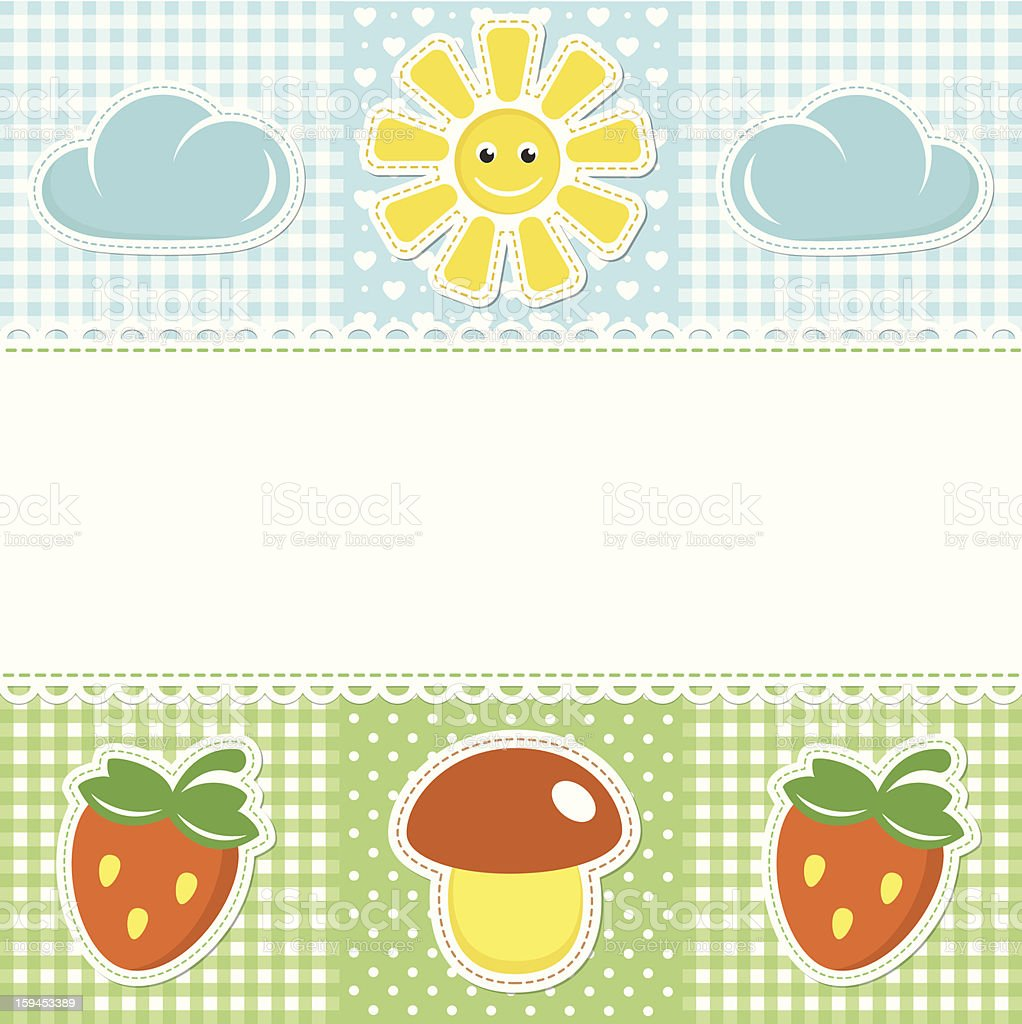 Lace border on sunny background with mushroom and strawberry royalty-free stock vector art