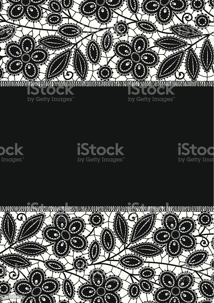 Lace Card. Black lace. Frame. royalty-free stock vector art
