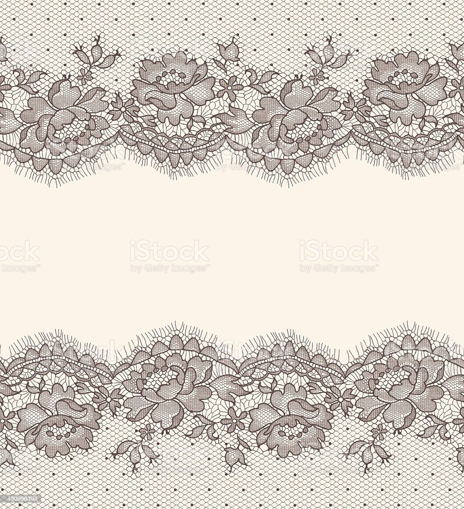 Lace card. Horizontal Seamless Pattern. vector art illustration