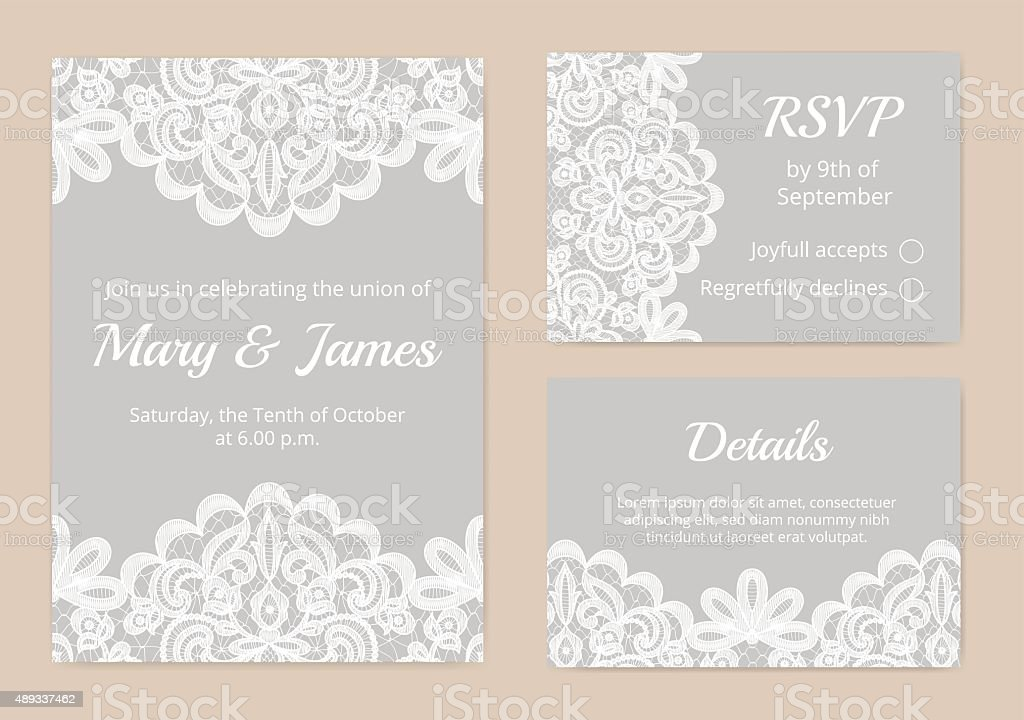lace cards for wedding vector art illustration