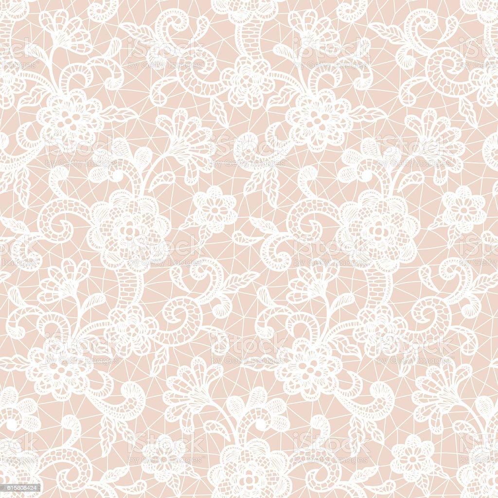 Lace Design with Floral Motifs vector art illustration