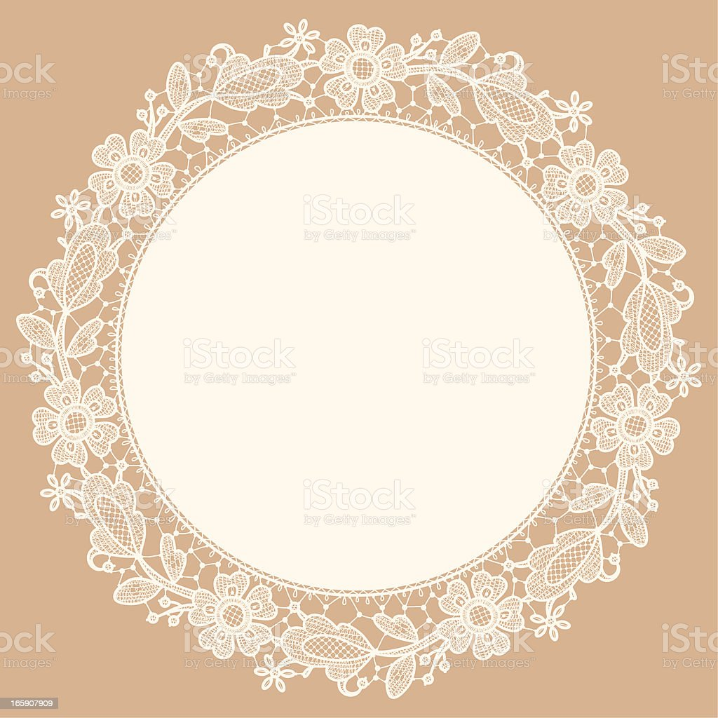 Lace Doily. Floral Pattern. Freehand Drawing. vector art illustration