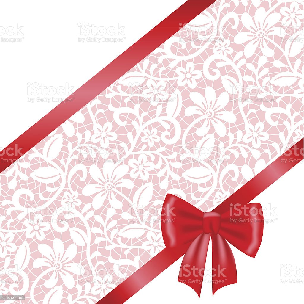 lace fabric background with ribbon bow royalty-free stock vector art