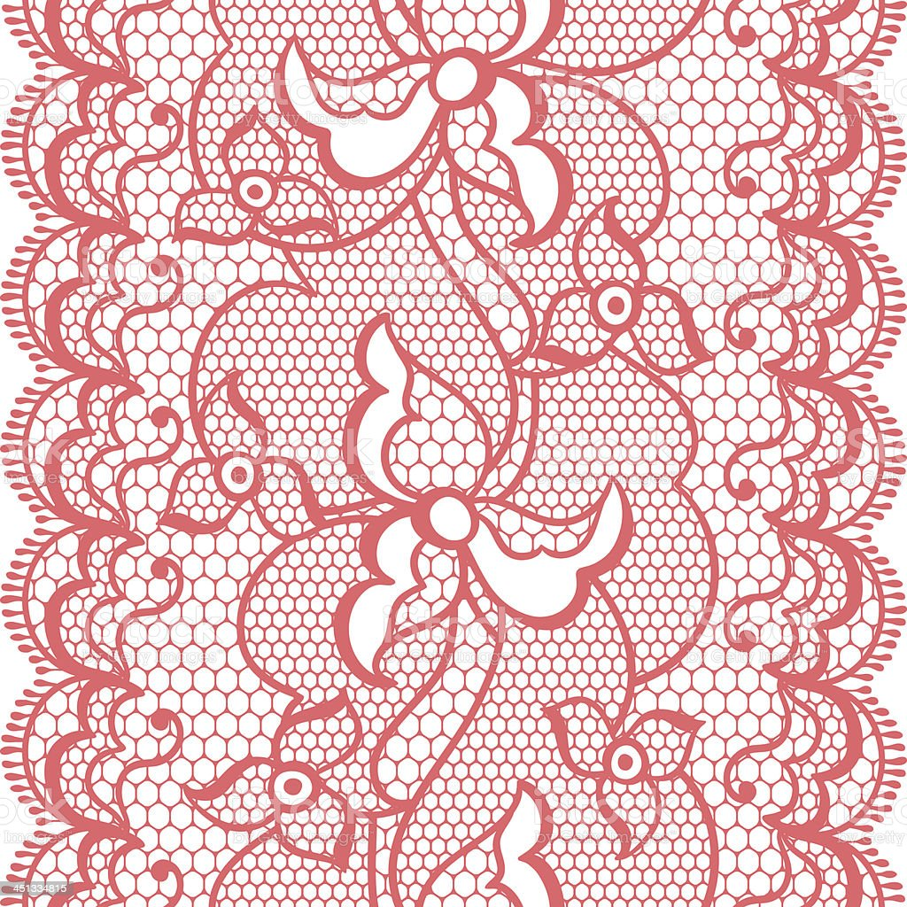 Lace fabric seamless border with abstract flowers. royalty-free stock vector art