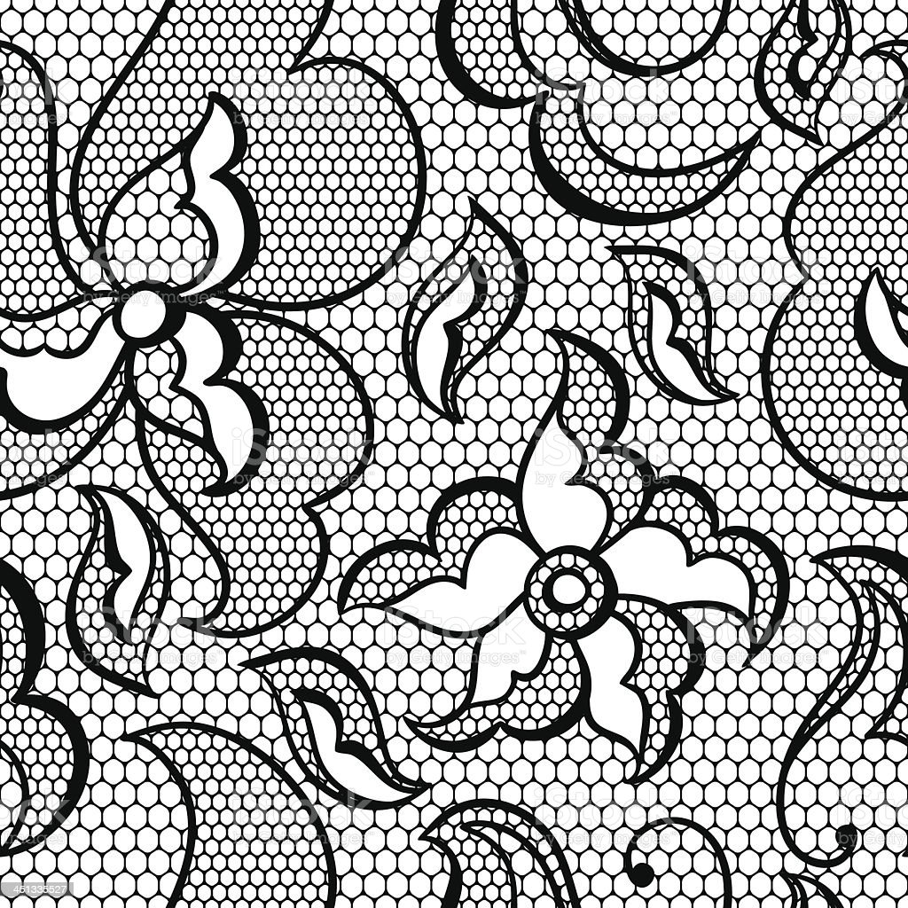 Lace fabric seamless pattern with abstract flowers. royalty-free stock vector art