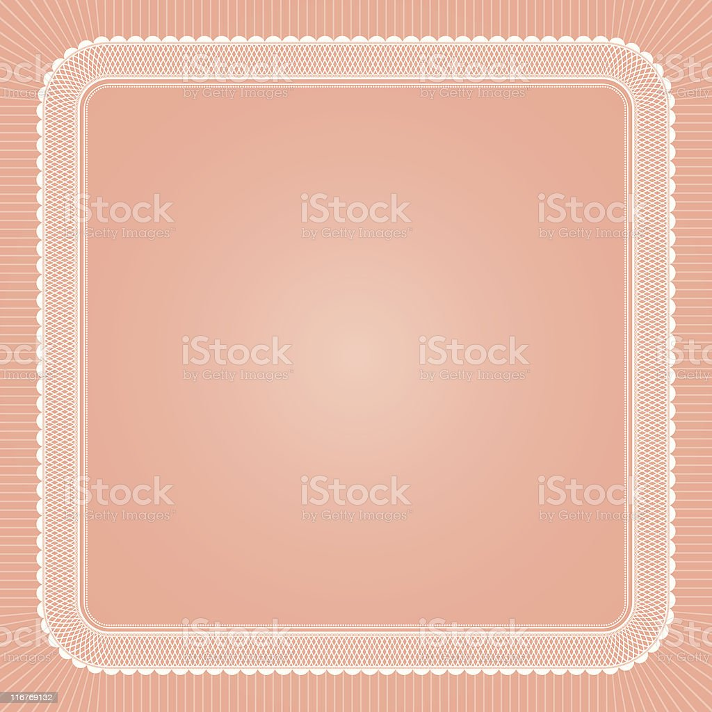 Lace Frame on Coral vector art illustration