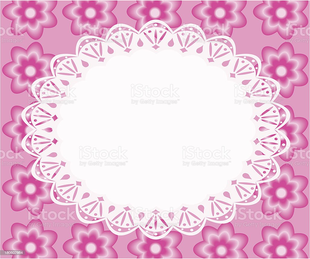 Lace frame with pink flowers. royalty-free stock vector art