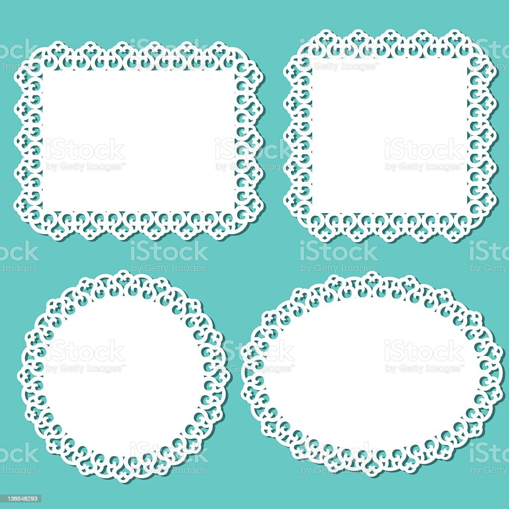 Lace frames and doliys stock photo