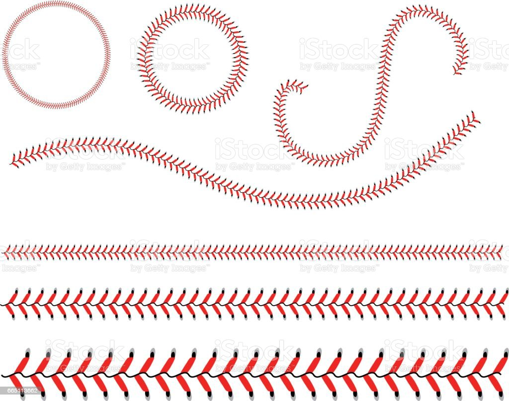 Lace from a baseball on a white background. vector art illustration