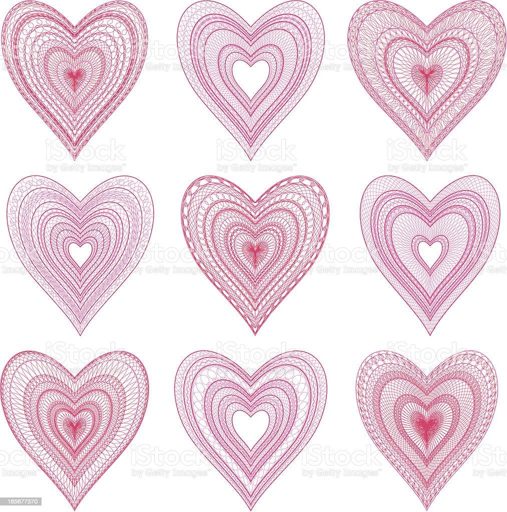 Lace hearts royalty-free stock vector art