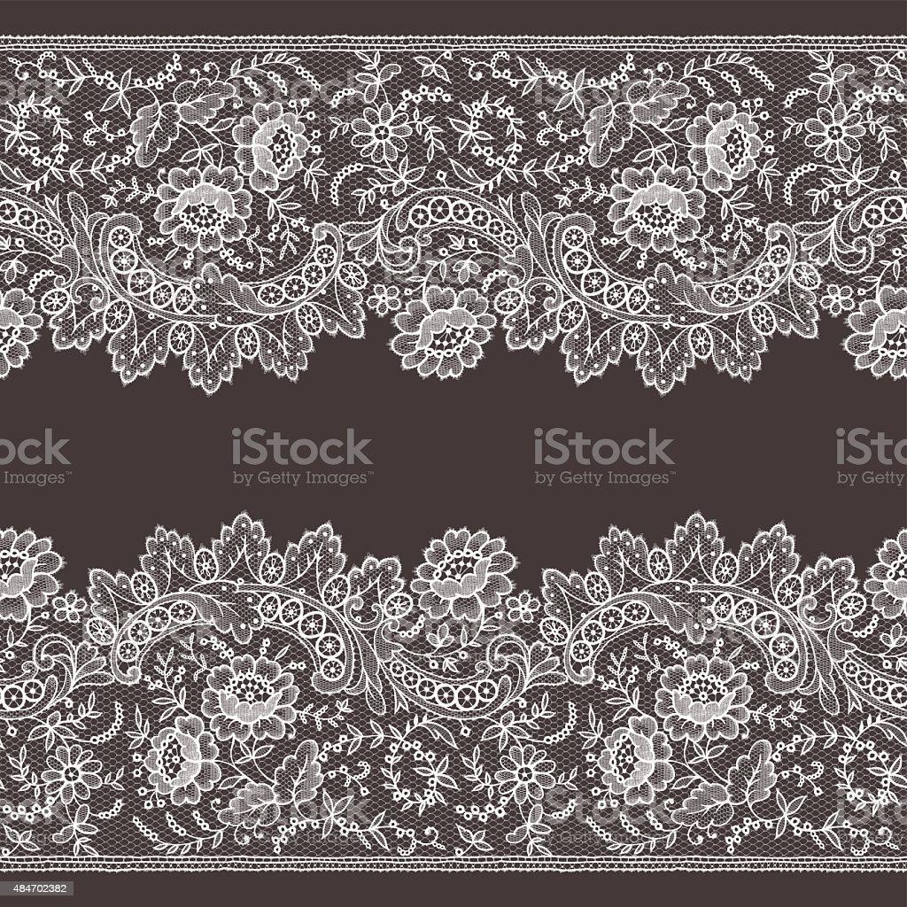 Lace Horizontal Seamless Pattern. vector art illustration