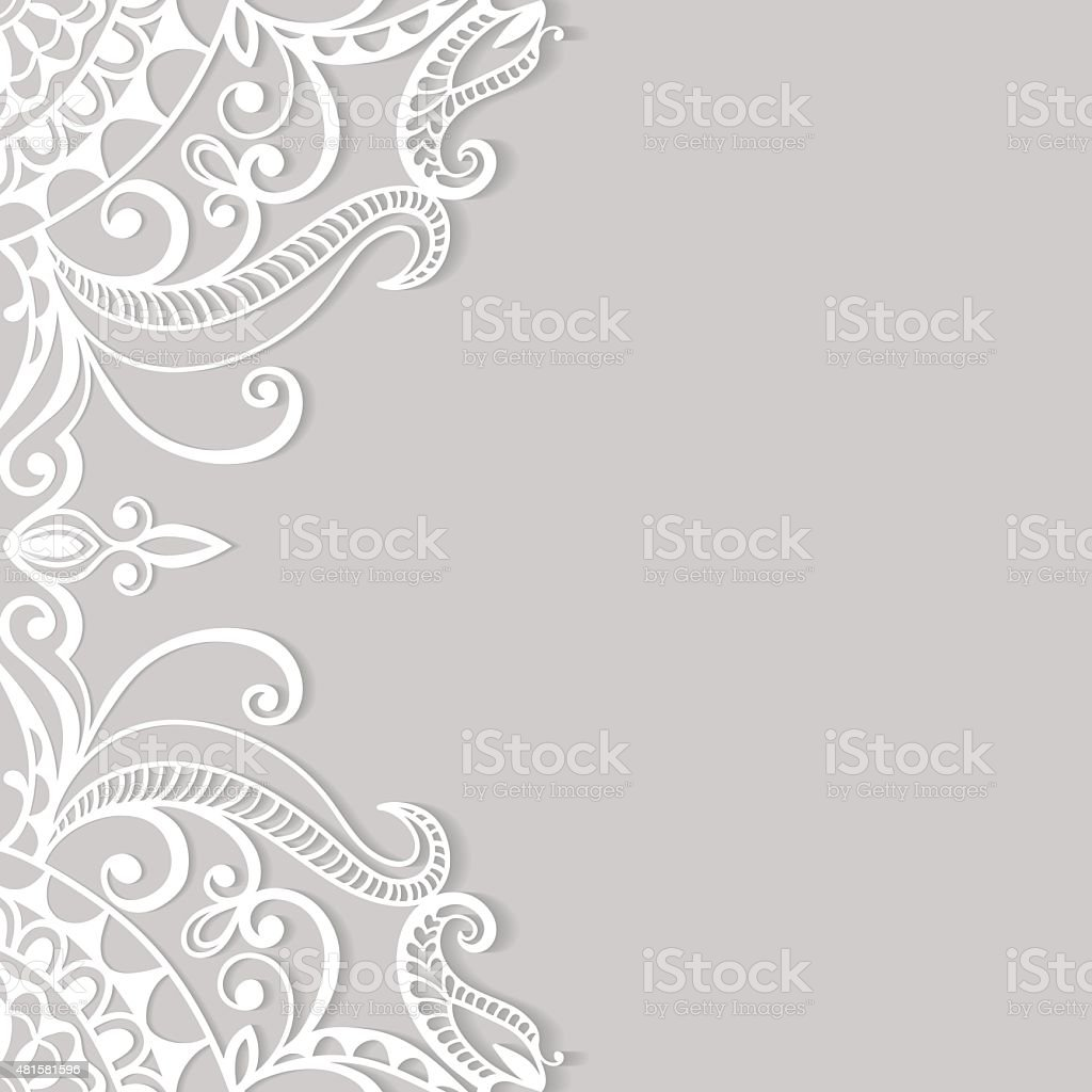 Lace Invitation Card, floral and geometric background vector art illustration