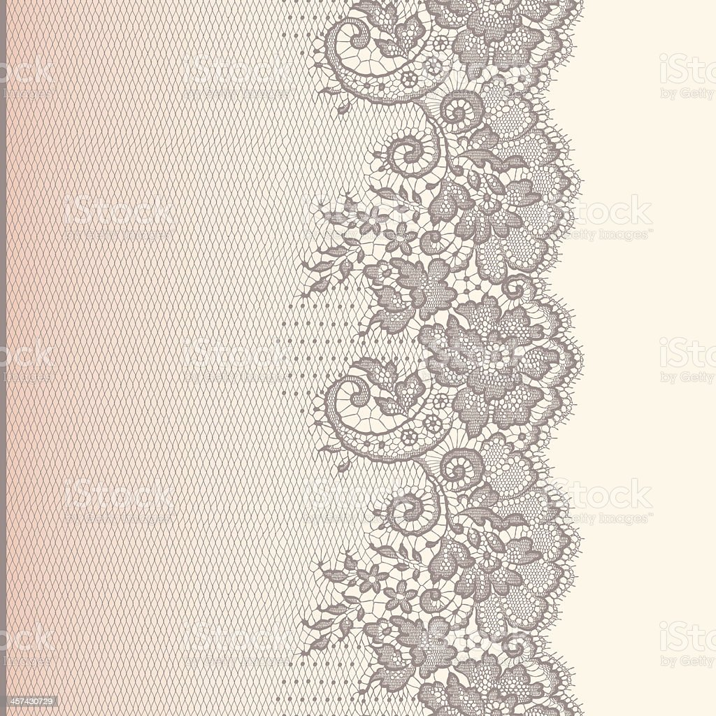 Lace Ribbon. Vertical Seamless Pattern. Gradient Background. vector art illustration