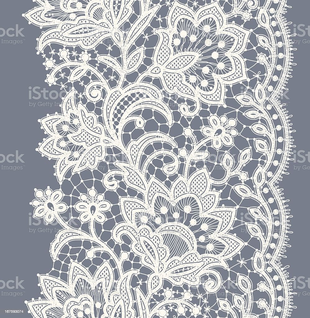Lace Ribbon Vertical Seamless Pattern. vector art illustration