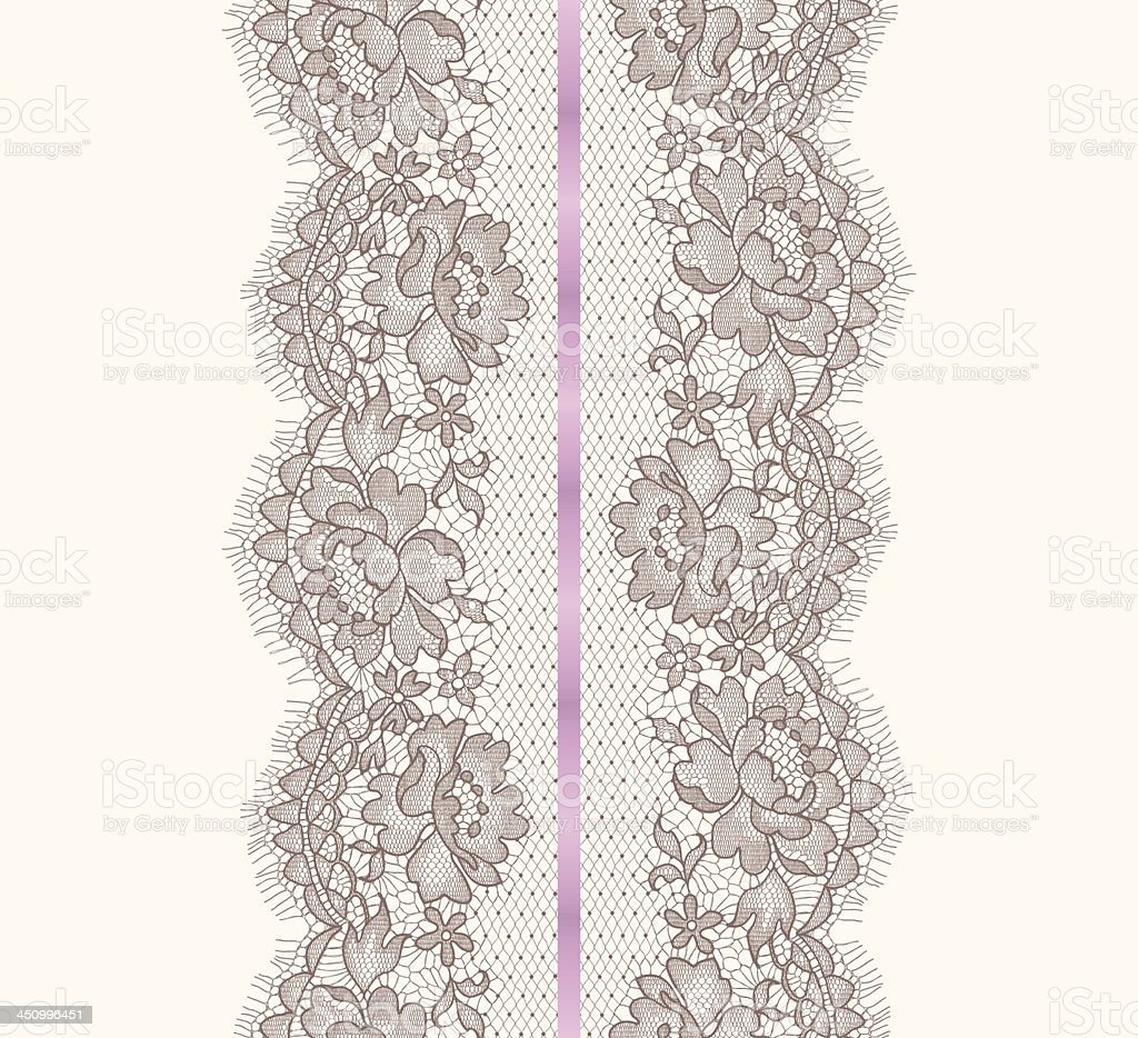 Lace Ribbon Vertical Seamless Pattern. royalty-free stock vector art