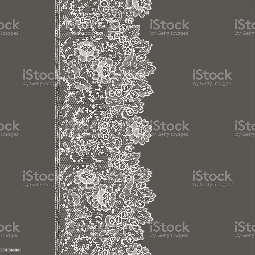 Lace ribbon. Vertical seamless pattern. vector art illustration