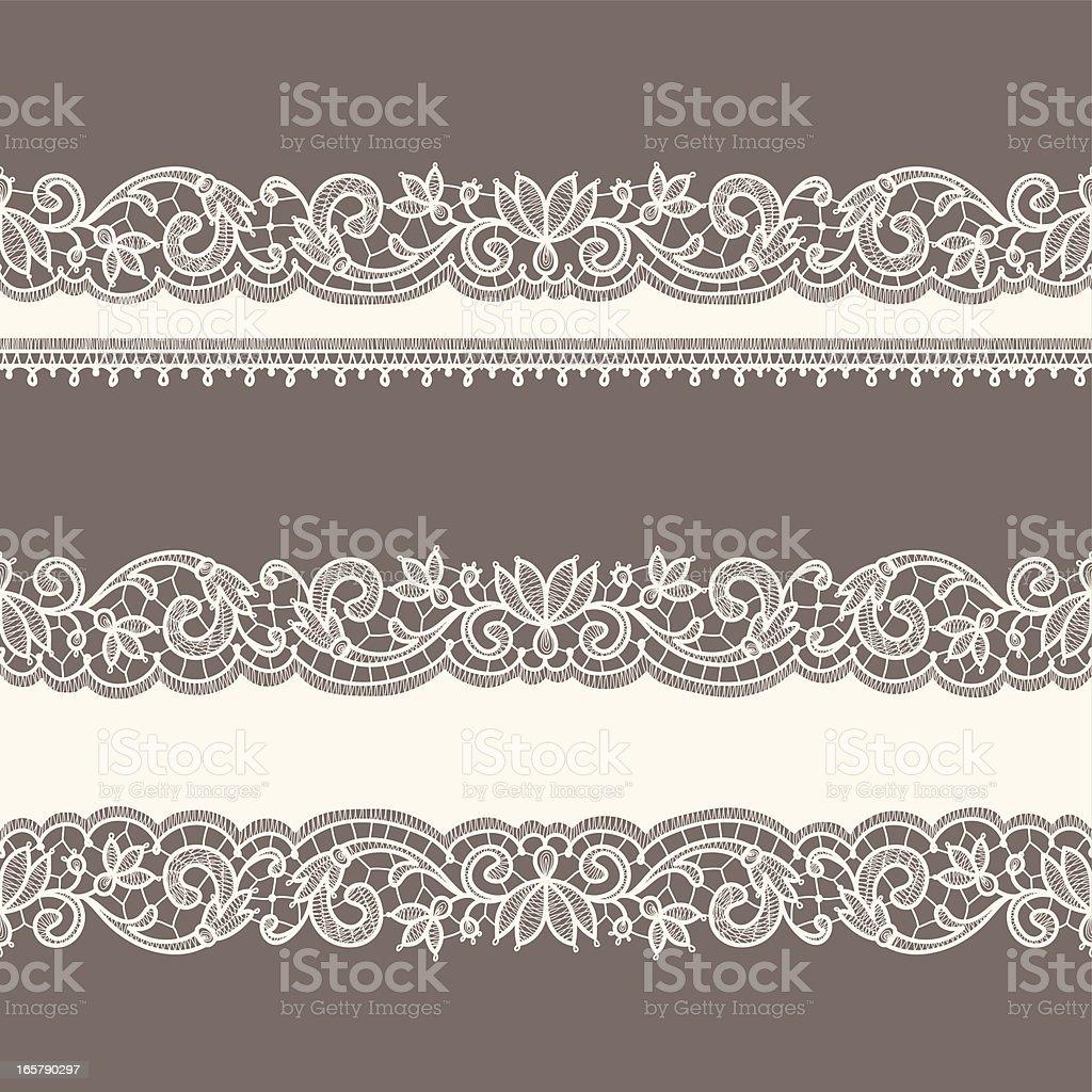 Lace Ribbons. Horizontal Seamless Patterns. vector art illustration