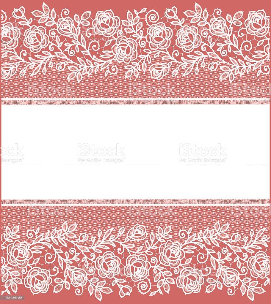 Lace Roses Floral Pattern Card vector art illustration
