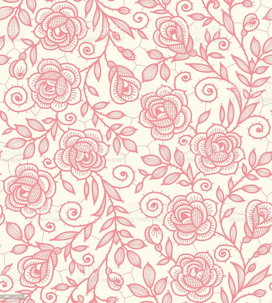 Lace Roses Seamless Pattern. vector art illustration