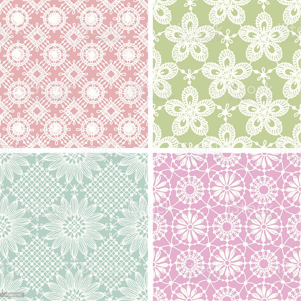 Lace seamless pattern. Multi Colored Backgrounds. Set. royalty-free stock vector art